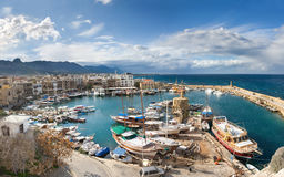 View of the haven. The view from Kirenia Castle Harbour, Northern Cyprus. Winter Stock Photography