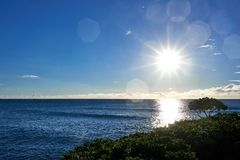 View of the Hawaiian ocean with the sun light shimmering on its surface. A view of the Hawaiian ocean with the sun light shimmering on its surface royalty free stock photo
