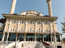 View of Haydarpasa Cami (Haydarpasha mosque. ).Its minaret collapsed after the hurricane on 27th July 2017 disaster in Istanbul,Turkey royalty free stock photography
