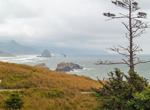 View of Haystack on the Oregon Coast Stock Image