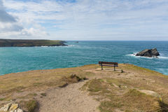 View from headland at Pentire Newquay Cornwall England UK by Crantock Bay Stock Photos