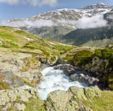 View of Heas valley from Maillet Plateau. The beginning of Heas valley seen from Maillet Plateau of in French Pyrenees in spring, with Maillet watercourse and Stock Photo