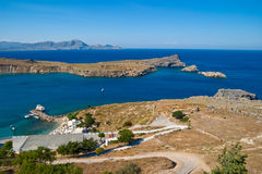 View from heaven. Mediterranean Sea. Sea harbor in Greece royalty free stock photography