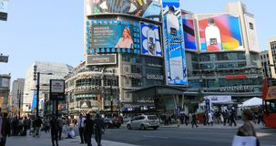 View of hectic Dundas Square in Toronto, Canada 4K