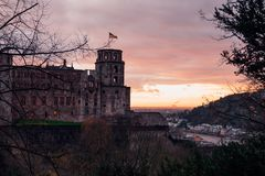 Traditional castle Heidelberg castle located on top of the hill. View on the Heidelberg castle located on top of the hill. Traditional castle ruins in Germany stock photos