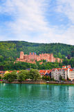 View of Heidelberg castle and Neckar river Royalty Free Stock Images