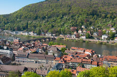 View from Heidelberg castle and the old Bridge over river Neckar Stock Photo