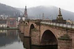 Old Bridge of Heidelberg on river view, Germany stock images