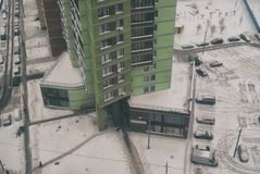 View from the height of the courtyard and a picturesque high-rise building.  Royalty Free Stock Photo
