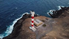 View from the height of the lighthouse Faro de Rasca on Tenerife, Canary Islands, Spain. Wild Coast of the Atlantic stock video