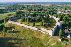 View from height on medieval Izborsk fortress in the sunny June afternoon. Pskov region, Russia stock photography