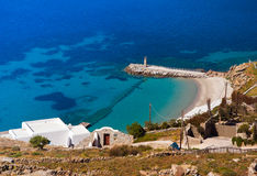 View from the height of the mountain on the island of Mykonos: t Stock Photography