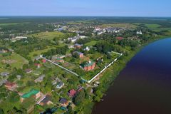 View from height on the Old Ladoga Sacred and Uspensky maiden monastery. Russia. View from height on the Old Ladoga Sacred and Uspensky maiden monastery in the royalty free stock photos