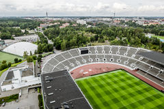 View from a height of the Olympic stadium in Helsinki.Finland Royalty Free Stock Image