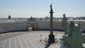 The view from the height of the palace Square the main headquarters and the Alexander pillar