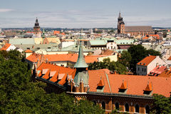 View from a height of pile up, Krakow, Poland. Royalty Free Stock Photo