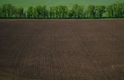 View from a height in a plowed field Stock Photography
