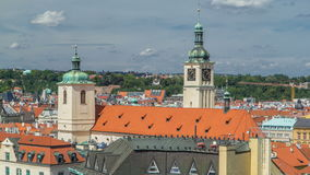 View from the height Powder Tower in Prague timelapse. Historical and cultural monument stock video
