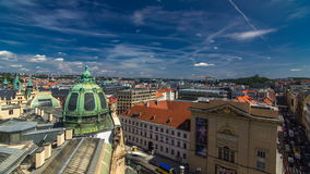 View from the height Powder Tower in Prague timelapse. Historical and cultural monument stock video footage