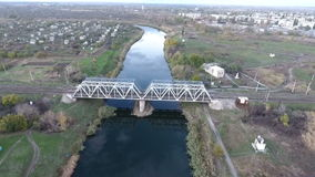 The view from the height on the railroad bridge and the river stock video