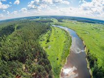 The view from the height of the river Mologa in the area Lounges. Shooting from height of the bird's flight. Maksatikhinsky District, Tver Region Royalty Free Stock Photos