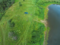 The view from the height of the river Mologa and the car next to. Shooting from height of the bird's flight. Maksatikhinsky District, Tver Region Royalty Free Stock Images
