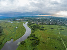 The view from the height of the river Mologa and town Maksatikha. Shooting from height of the bird's flight. Maksatikhinsky District, Tver Region Stock Images