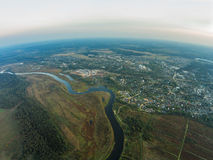 The view from the height of the river Mologa and town Maksatikha. Shooting from height of the bird`s flight. Maksatikhinsky District, Tver Region Stock Photos