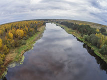 The view from the height of the river Mologa in the Tver Region. View of the river in autumn, near the village Stock Images
