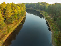 The view from the height of the river Mologa in the Tver Region. River Maksatikhinskiy district, shot from a quadcopter Royalty Free Stock Images