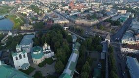 View from the height of the Spaso-Preobrazhensky monastery aerial video. Yaroslavl stock footage