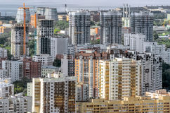 View from a height to a multi-storey building in the city. View from a height to a multi-storey building in the city Stock Photo