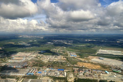 View from height of Yekaterinburg, Sverdlovsk region, Russia - aerial summer panorama Stock Photos