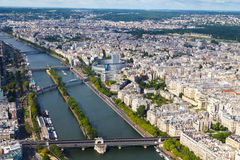 View from the heights of the Eiffel Tower at Paris. Royalty Free Stock Image