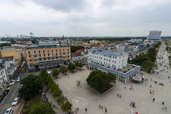 The view from the heights of the historical quarters district of Warnemunde Stock Image
