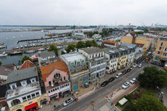 The view from the heights of the historical quarters district of Warnemunde Stock Photography