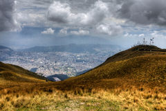 A view from the heights looking down on the city of Quito Royalty Free Stock Photography