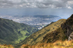 A view from the heights looking down on the city of Quito, Ecuador Royalty Free Stock Photos