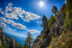 View from the heights of the mountains to the coast Royalty Free Stock Photo