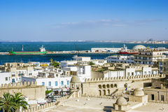 View from the heights over the port of Sousse Tunisia. View from the heights over the port and the Medina of Sousse Tunisia in sunny day stock photos