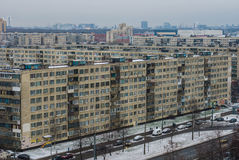 View from the heights in sleeping quarters. The sleeping quarters in winter, view from the aerial view Stock Photography