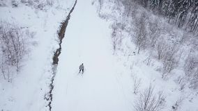 View from the heights to the skier descending the ski slope stock video