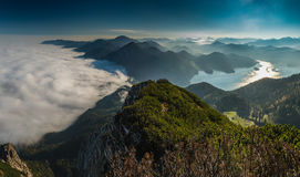 View from Heimgarten and Herzogstand in the Bavarian Alps Royalty Free Stock Images
