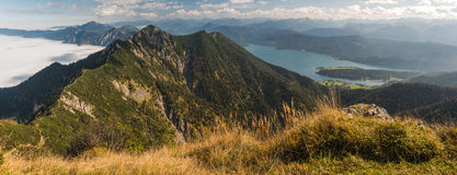 View from Heimgarten and Herzogstand in the Bavarian Alps Royalty Free Stock Photo