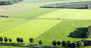 View from a helicopter on Dutch landscape Stock Photo