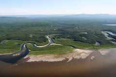 View from the helicopter on the river Stock Images