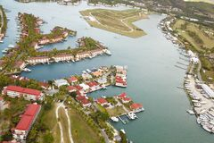 Jolly Harbor Aerial View, Antigua. View from a helicopter to Jolly Harbor in Antigua stock images