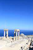 View of Hellenistic stoa. At LIndos Acropolis, Rhodes, Greece Stock Photo