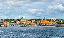 View of Helsingor or Elsinore from Oresund strait - Denmark. View of Helsingor or Elsinore from Oresund strait in Denmark royalty free stock photos
