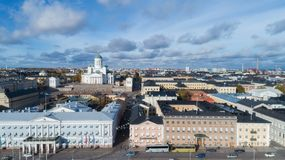 View of Helsinki Cathedral, aerial view. Beautiful blue sky and clouds royalty free stock photo